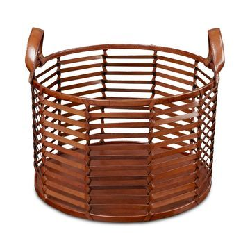 Madison Park Signature Newport Leather Stripe Basket Medium
