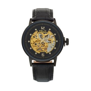 Relic Men's Damon Leather Automatic Skeleton Watch - ZR77304