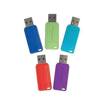 Verbatim PinStripe 16GB USB 2.0 Flash Drives, 5/Pack (99813)