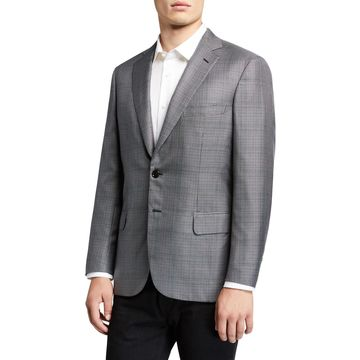 Men's Glen-Check Wool-Silk Jacket