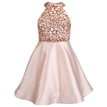 Big Girls Sequin Trim Satin Dress