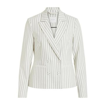 **Vila Cream Pinstriped Blazer