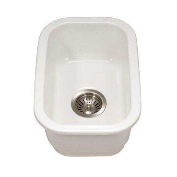 "Houzer Platus Fireclay Undermount 13"" Rectangular Bar Sink, White"