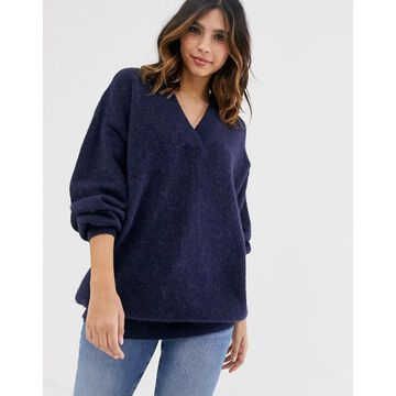 Y.A.S oversized v neck knitted sweater-Navy