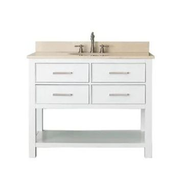 Avanity Brooks White 43-inch Vanity Combo with Top and Sink (Galala Beige Marble)