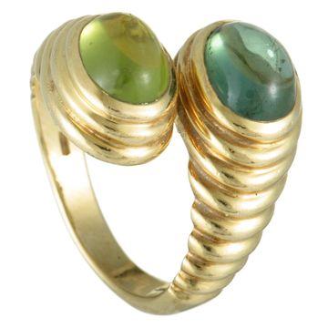 Bvlgari Doppio Yellow Gold Green Tourmaline and Peridot Bypass Ring