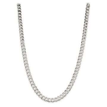 Sterling Silver Polished 8mm Close Link Flat Curb Chain by Versil