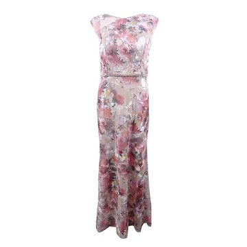 SL Fashions Women's Floral Mesh Embroidered Gown (12, Multi) - Multi - 12