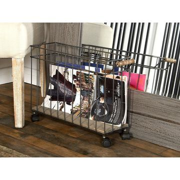 Farmhouse Wood and Metal Basket Organizer with Wheels by Studio 350