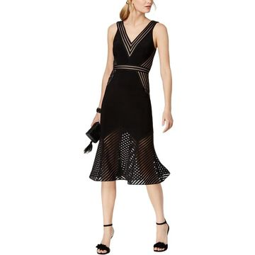 Xscape Womens Cocktail Dress Illusion Sleeveless