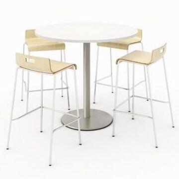 KFI Round Designer White Bistro Table Set, 4 Jive Series Stools (Natural - 42