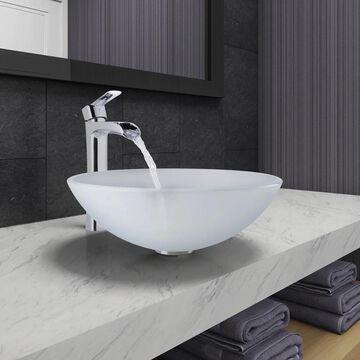 VIGO White Frost Glass Vessel Bathroom Sink and Niko Faucet Set in Chrome Finish (VIGO Vessel Bathroom Sink and Niko Faucet)