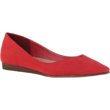Madeline Women's Dreamlike Pointed Toe Flat Lily Red Textile