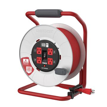 CRAFTSMAN CRAFTSMAN CONTRACTOR GRADE Retractable Extension Cord, 100 ft with 4 Outlets - 12AWG SJTW Cable - Outdoor Power Cord Reel in Red
