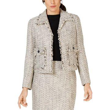 Kasper Womens Open-Front Blazer Tweed Business - 10