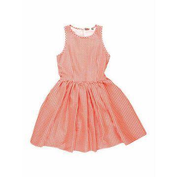 Msgm Plaid Print Mini Dress Orange Msgm Plaid Print Mini Dress