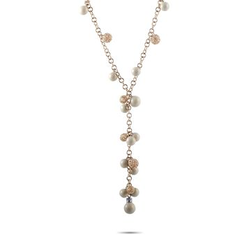 Roberto Coin Bollicine Rose and White Gold Diamond and White Coral Ball Chain Necklace