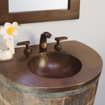 Bordeaux Antique Copper Vanity Top with Integrated Sink