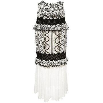 woven embroidered midi dress