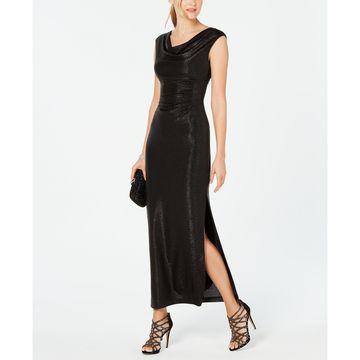 Metallic Cowlneck Gown