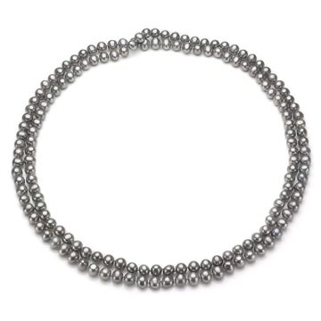 DaVonna 7-8mm Grey Freshwater Pearl Endless Necklace, 72
