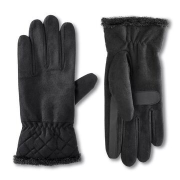 Women's isotoner Lined Recycled Microsuede Water Repellent Glove with Quilted Cuff