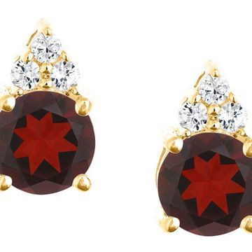 Premier 1.60cttw Round Garnet & Diamond Earrings, 14K
