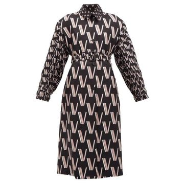 Valentino - V-print Pleated Silk-faille Trench Coat - Womens - Black White