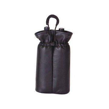Double Bottle Pouch, Burgundy, Black Faux Leather