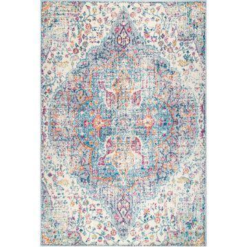 """nuLoom Nile Vintage-Inspired Maryetta Distressed Blue 5' x 7'5"""" Area Rug"""
