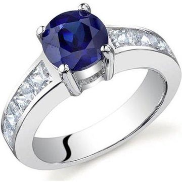 1.75 Carat T.G.W. Created Blue Sapphire Rhodium-Plated Sterling Silver Engagement Ring