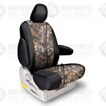 NorthWest Camo Seat Covers in Realtree AP Extra Grey w/ Black Sides, 1st-Row Seat Covers