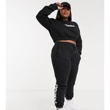 ellesse plus cropped sweatshirt & sweatpants set in black