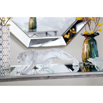 "Studio 350 Metallic Leopard Figurine w/ Rhinestone Eyes, 23"" x 6"""