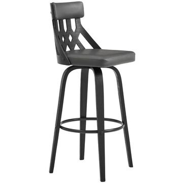 """26"""" Crux Swivel Counter Height Barstool with Faux Leather Black Wood Frame - Armen Living"""