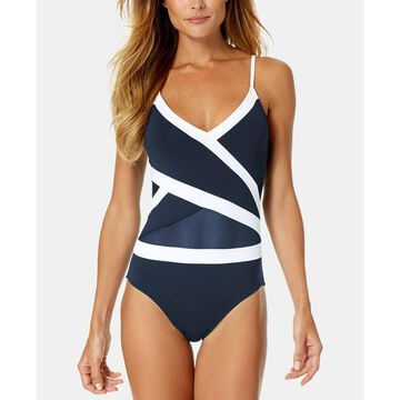 Colorblocked Crossover Mesh One-Piece Swimsuit