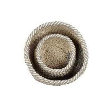 Studio 350 Round Gray Mesh & White Cotton Rope Chevron Pattern Storage Baskets, Set of 2 (Brown)