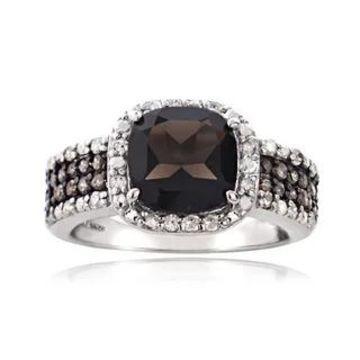 Glitzy Rocks Sterling Silver White and Champagne Diamond Smokey Quartz Ring (8)