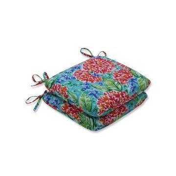 Pillow Perfect Garden Blooms Multi Rounded Corners Seat Cushion, Set of 2