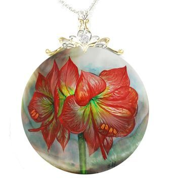 Michael Valitutti Palladium Silver Hand-Painted Mother-of-Pearl Shell & White Topaz Poinsettia Flower Pendant