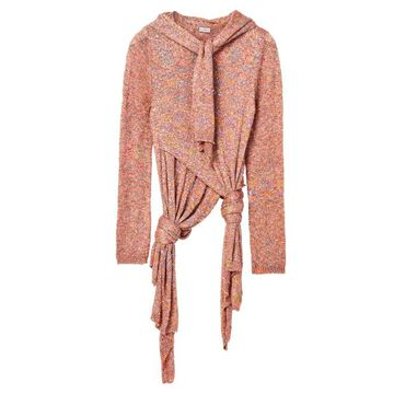 Loewe - Scarf-neck Knotted Sequinned Sweater - Womens - Pink