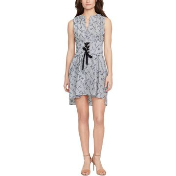 William Rast Womens Kyra Embroidered Button Down Casual Dress