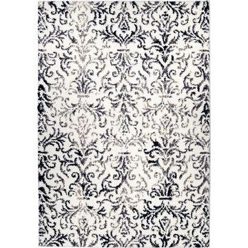 Orian Rugs Angora Ragsdale 8 x 11 White Indoor Abstract Farmhouse/Cottage Area Rug Polyester in Off-White