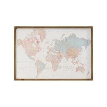 "Stratton Home Decor Watercolor World Map Print Wall Art, 44"" x 30"""