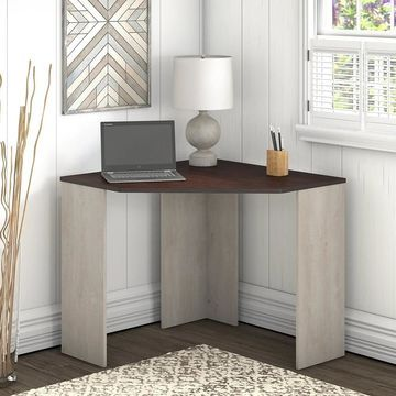 Bush Furniture Townhill Corner Desk in Washed Gray and Madison Cherry