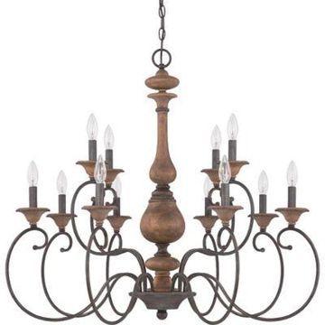 Quoizel Auburn 12-Light Chandelier in Rustic Black