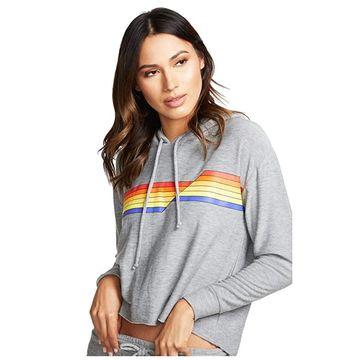 Chaser Retro Stripe Cozy Knit Cropped Hoodie (Heather Grey) Women's Sweatshirt