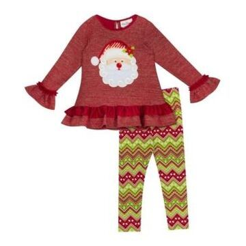 Rare Editions Little Girl Knit Legging Set With Santa Applique