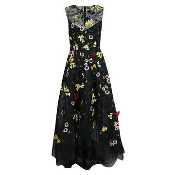 Monique Lhuillier Black Floral and Butterfly Applique High Low Tulle Gown S