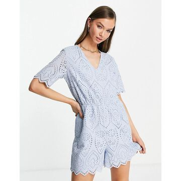 Y.A.S organic cotton eyelet romper in pale blue-Blues